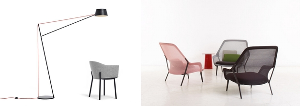 Simon James Design - Spar Floor Light by Jamie McLellan, Slow chair by Rowan and Erwan Bouroullec