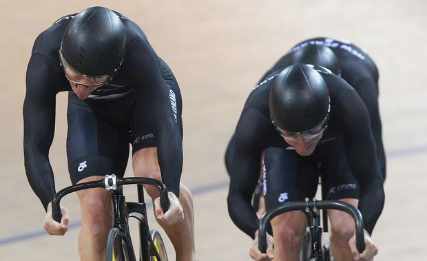 The New Zealand men's sprint team of Eddie Dawkins, Ethan Mitchell and Sam Webster.