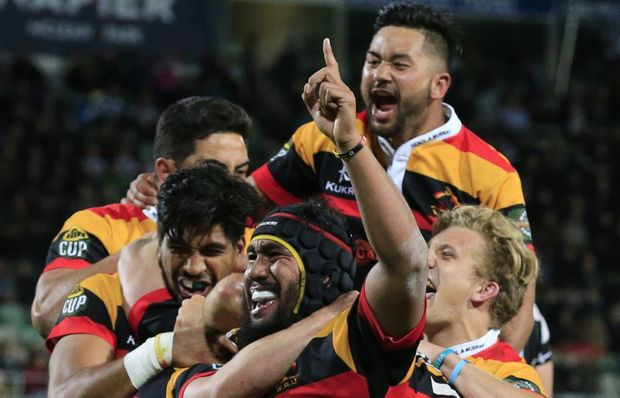 Waikato celebrate their Ranfurly Shield win over Hawkes Bay.