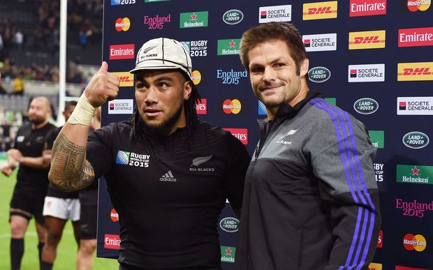 Ma'a Nonu presented with his silver cap after playing his 100th Test RWC2015