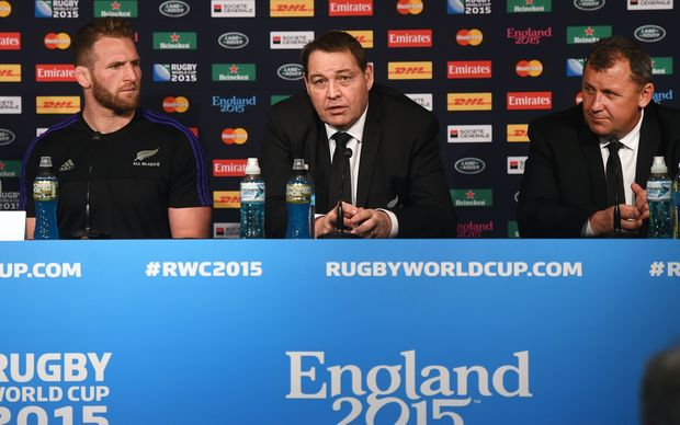 All Blacks captain Kieran Read (L), coach Steve Hansen (C), and assistant coach Ian Foster during the post match press conference after the All Blacks beat Tonga at the World Cup, St James' Park in Newcastle. 10 October 2015. Copyright Photo: Andrew Cornaga / www.Photosport.nz