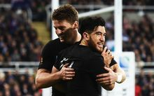 Nehe Milner-Skudder after his try from Beauden Barrett's kick during the All Blacks win over Tonga at Rugby World Cup 2015, St James' Park in Newcastle. UK. Friday 9 October 2015. Copyright Photo: Andrew Cornaga / www.Photosport.nz