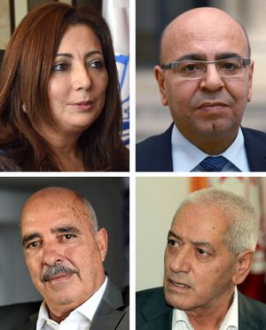 Employers union president Wided Bouchamaoui; lawyer Fadhel Mahfoudh; Human Rights League president Abdessattar ben Moussa and Labour Union Secretary General Houcine Abbassi.
