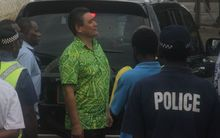 Moana Carcasses outside court in Port Vila following his conviction