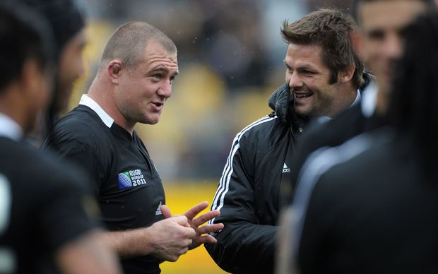Tony Woodcock talks to Richie McCaw after the All Blacks beat Canada at the 2011 Rugby World Cup in Wellington on Sunday, 2 October 2011. Photo: Dave Lintott / photosport.co.nz