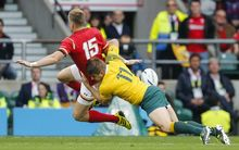 Gareth Anscombe of Wales is tackled by Drew Mitchell of Australia 10.10.2015. Twickenham Stadium, London, England. Rugby World Cup. Australia v Wales