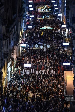 Thousands of protesters march along Istiklal Avenue in Istanbul against the deadly attack in Ankara when bombs ripped through an anti-government peace rally.