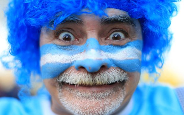 An Argentina fan watches his team's win over Namibia at the 2015 Rugby World Cup.