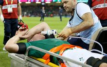 Ireland captain Paul O'Connell down injured in Ireland's 24-9 win over France at the Rugby World Cup, Millennium Stadium, Cardiff, Wales 11/10/2015. Mandatory Credit ©INPHO/Dan Sheridan