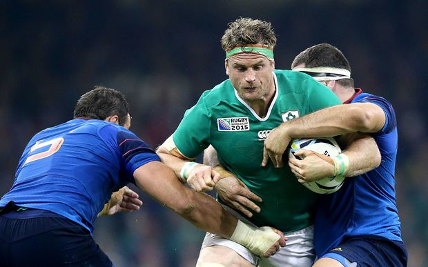 Ireland's Jamie Heaslip is tackled by French players at Millennium Stadium in their 2015 Rugby World Cup Group D decider, Cardiff, Wales 11/10/2015. Mandatory Credit ©INPHO/Dan Sheridan