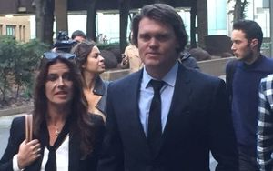 Lou Vincent leaving court with wife Susie