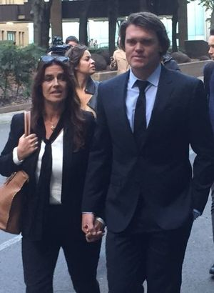 Lou Vincent leaving court with wife Susie.