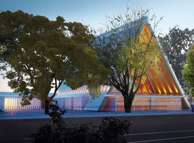 The temporary cathedral uses cardboard tubes, as well as timber beams and structural steel.