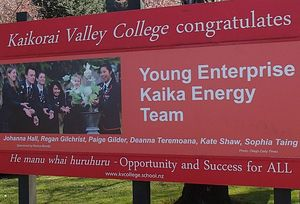 Sign in front of Kaikorai College congratulating the Kaika Energy team.