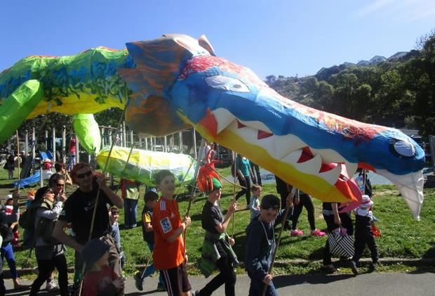 A giant Taniwha makes it's appearance in Island Bay