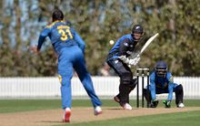 Mitchell Santner of New Zealand 'A' batting during the one-day series match 4 between New Zealand 'A' and Sri Lanka 'A' at Bert Sutcliffe Oval in Lincoln, New Zealand. 13 October 2015. Photo: Kai Schwoerer / www.photosport.co.nz