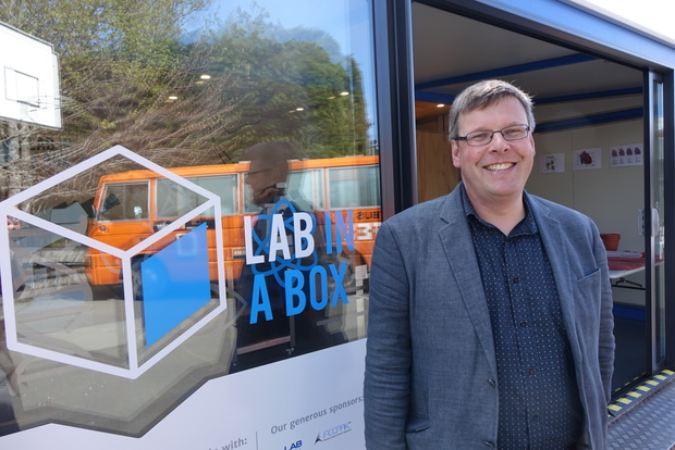 Associate Professor Peter Dearden, director of Genetics Otago, who dreamed up and has led the project, in front of the lab at Kaikorai Primary School.