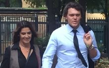 Lou Vincent arriving at court today with wife Susie.