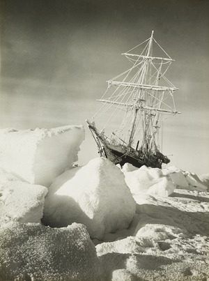 An image of the ice-trapped Endurance taken by Frank Hurley.
