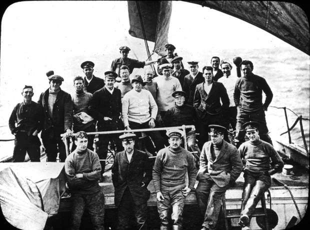 Shackleton's crew taken by the expedition photographer Frank Hurley.