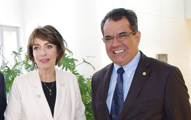 French Polynesia President Edouard Fritch and French Social Affairs Minister Nmarisol Touraine
