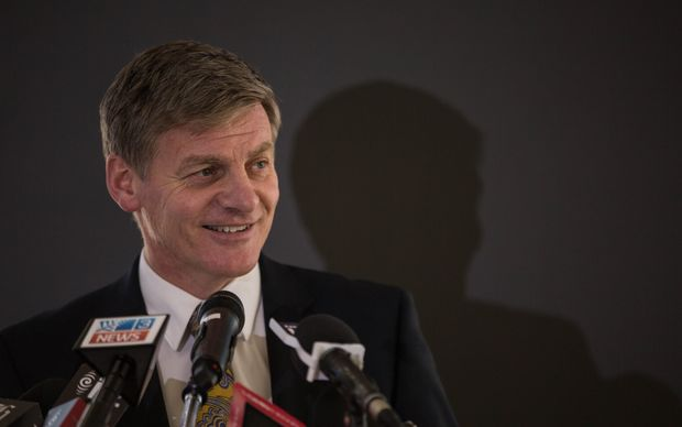 Bill English was all smiles at today's media lock-up.