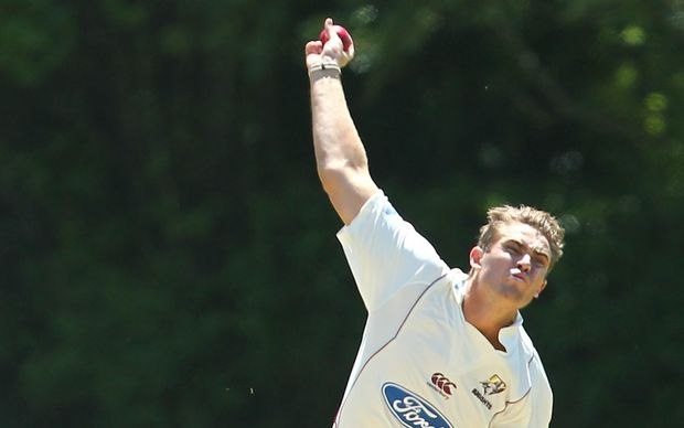 Northern Districts Test bowler Tim Southee in action