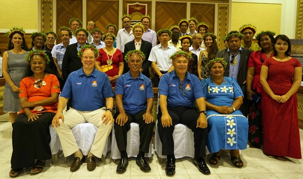 Attendees at a meeting of the Coalition of Low Lying Atoll Nations on Climate Change in Kiribati