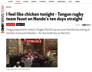 Screenshot of TVNZ reporting Tonga's team eating at Nando's ten days in a row