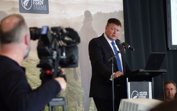 Chair of Silver Fern farms Rob Hewett at the shareholder meeting.