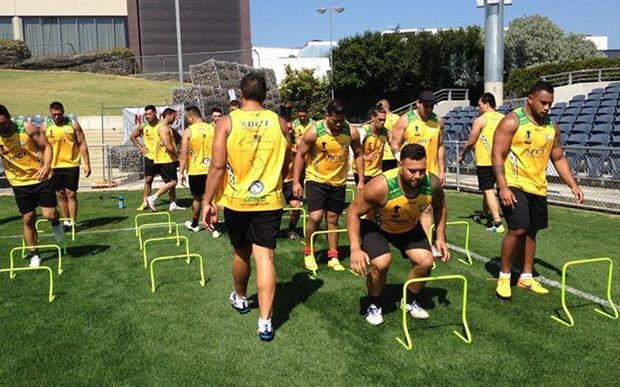 Cook Islands players training before their Rugby League World Cup qualifying match against Tonga.