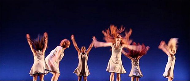 "Dancers from a work called ""Hair Peace"" choreographed by Sherry Shapiro"
