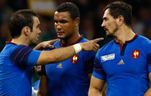 Thierry Dusautoir and Morgan Parra of France after the 2015 Rugby World Cup Pool D match between France and Ireland.