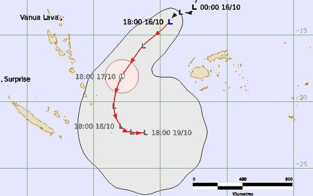 The tracking map for the tropical depression near Fiji.