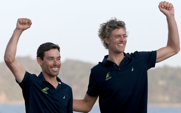 Mathew Belcher and Will Ryan of Australia celebrate winning the Rio Test Event, August, 2015