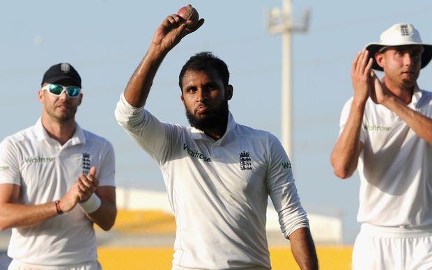 Adil Rashid of England after claiming a 5 wicket haul during day five of the 1st Test between Pakistan and England, October 17, 2015 in Abu Dhabi