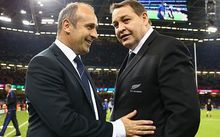 Philippe Saint-Andre and New Zealand coach Steve Hansen after their 2015 Rugby World Cup quarterfinal.