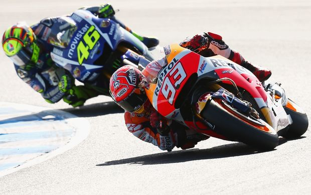 Marc Marquez leads Valentino Rossi  during the 2015 MotoGP of Australia at the Phillip Island Grand Prix