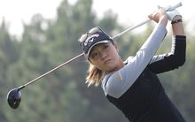Lydia Ko plays a tee shot on the 2nd hole during round four of an LPGA event in Incheon, South Korea.