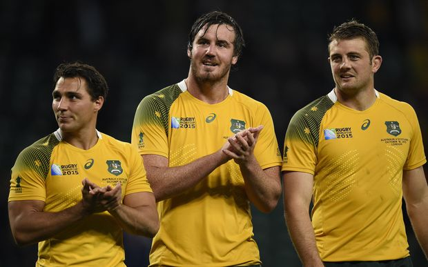 Australia lock Kane Douglas (C) celebrates after getting out of jail in the quarter-final against Scotland at the 2015 Rugby World Cup, Twickenham, London, on October 18, 2015. AFP PHOTO / MARTIN BUREAU