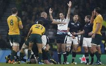South African referee Craig Joubert awards Australia a match winning penalty against Scotland.