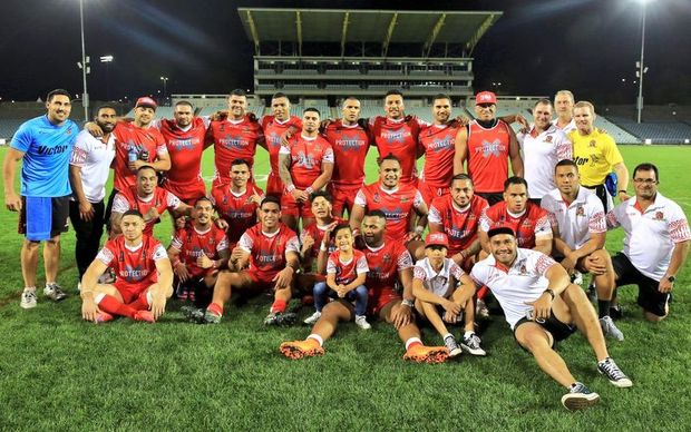 Tonga celebrate qualifying for the 2017 Rugby League World Cup.