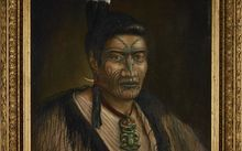 Portrait of a Maori man named as Hoani or Hamiora Maioha, and signed G Lindauer, but revealed to be a fake.
