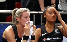 Leana de Bruin and Maria Tutaia after 2015 World Cup final defeat.