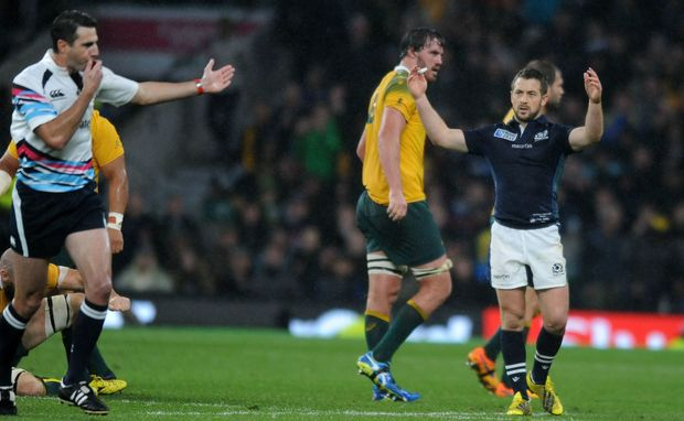 Scotland captain Greig Laidlaw upset with referee Craig Joubert RWC2015.