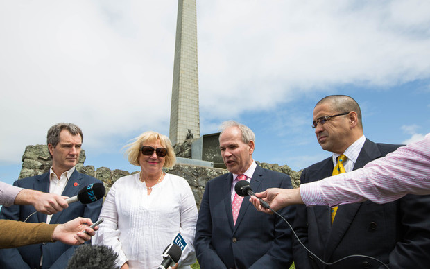 Announcing the new plan for One Tree Hill were (from left) Council asset development manager Mace Ward, Councillor Christine Fletcher, mayor Len Brown and Tupuna Maunga o Tamaki Makaurau Authority chairman Paul Majurey
