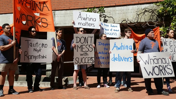 Students protesting the potential loss of whānau mentoring programme Te Rōpū Āwhina at Victoria University.