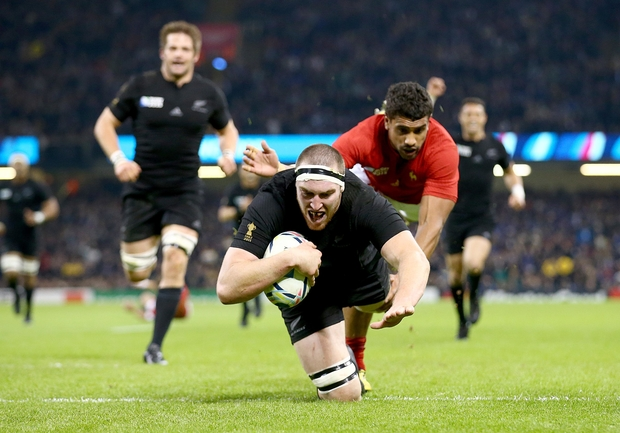 All Black lock Brodie Retallick scores the first try of the match during the 2015 Rugby World Cup Quarter Final against France in Cardiff.