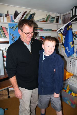 Photo of Cody with his specialist teacher, Bill Lovell-Smith