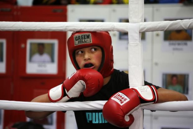 A young boxer at Billy Graham's Naenae Boxing Academy in Lower Hutt.